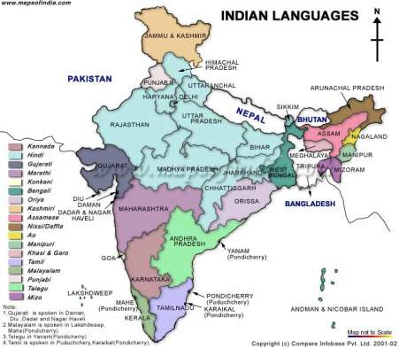 Language map of India