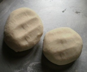 dough balls ready to be flattened